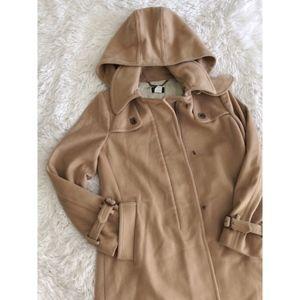 J.CREW camel long wool winter coat with hood